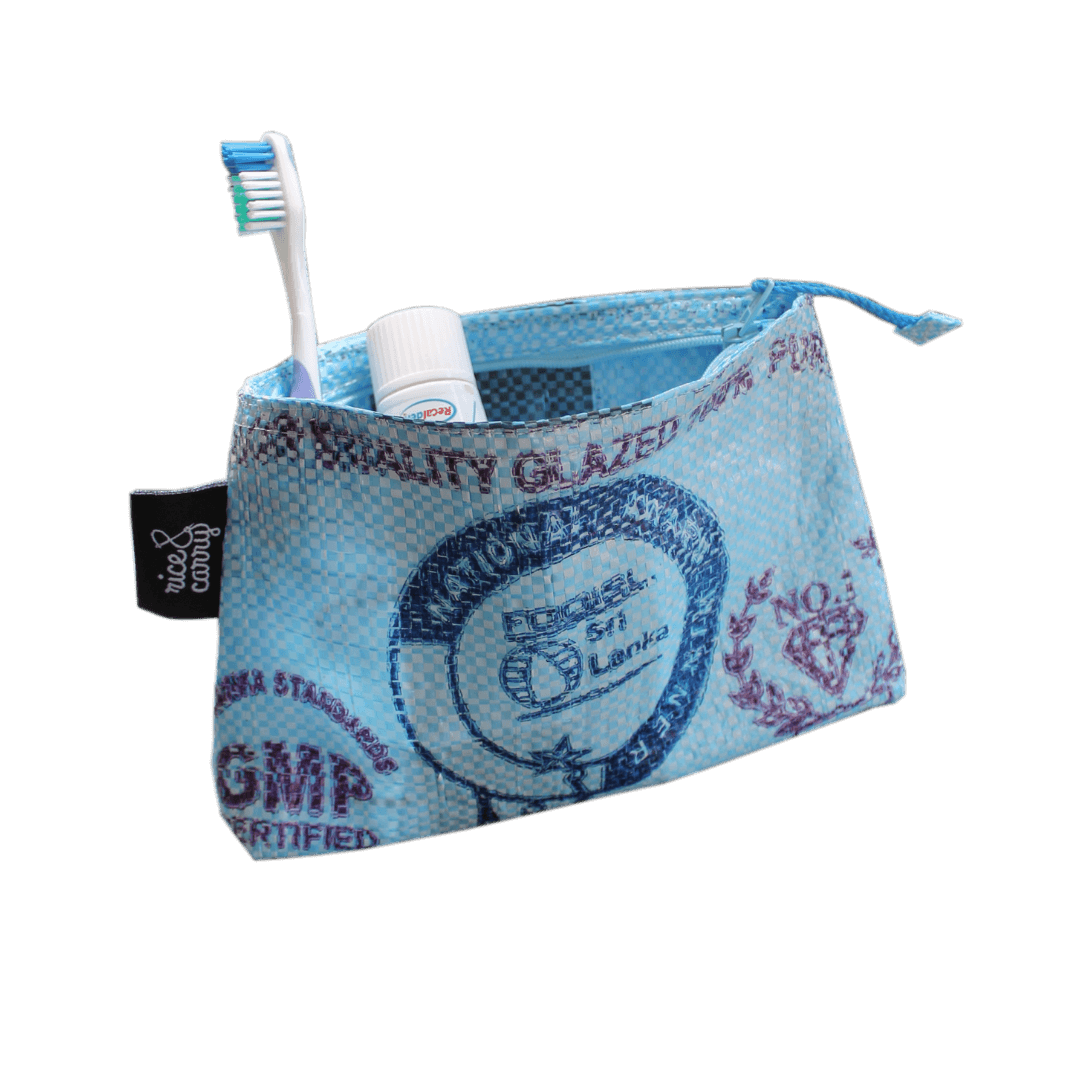 sustainable gifts Rice & Carry Upcycled rice sacks cosmetics bag