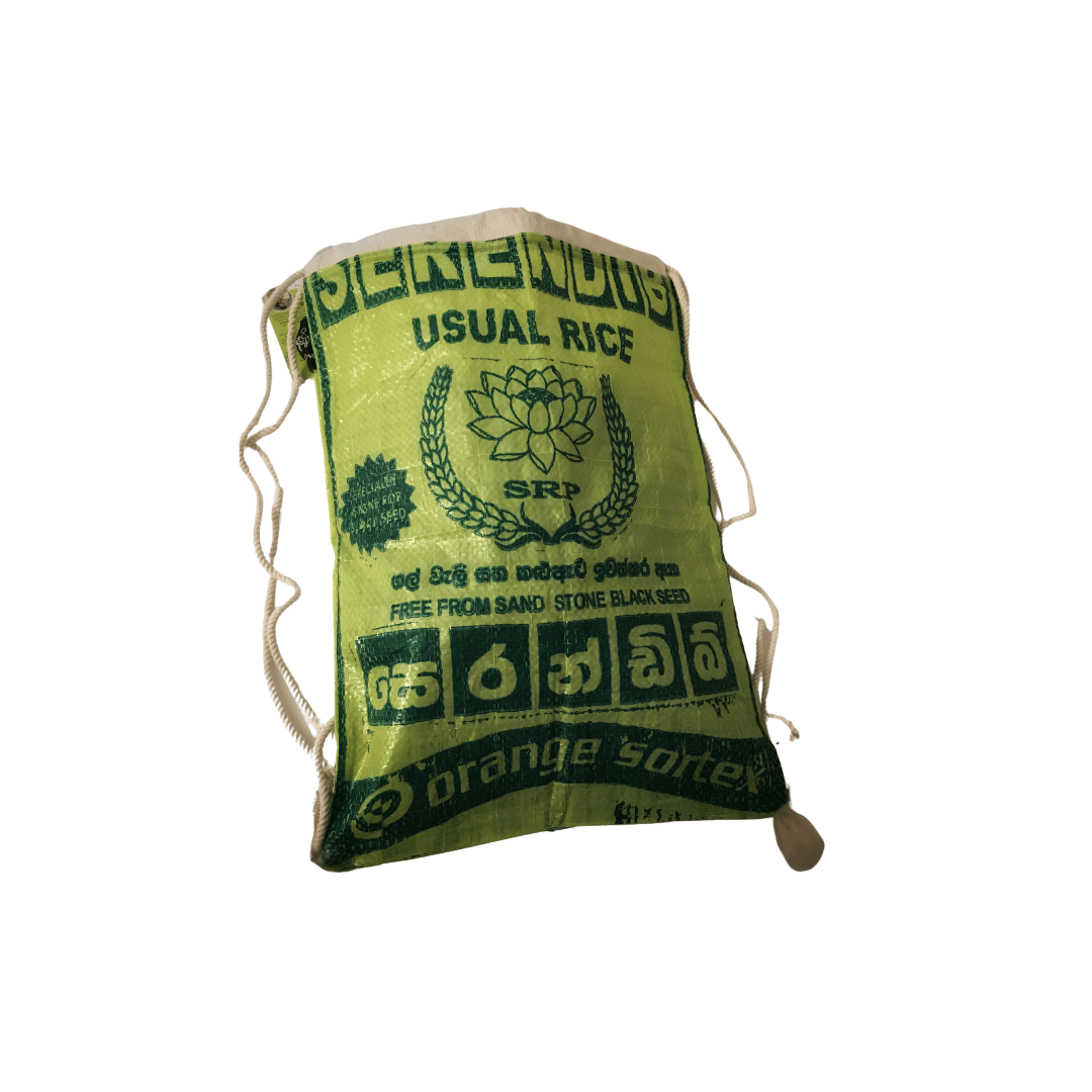 sustainable gifts Rice & Carry Upcycled rice sacks drawstring bag