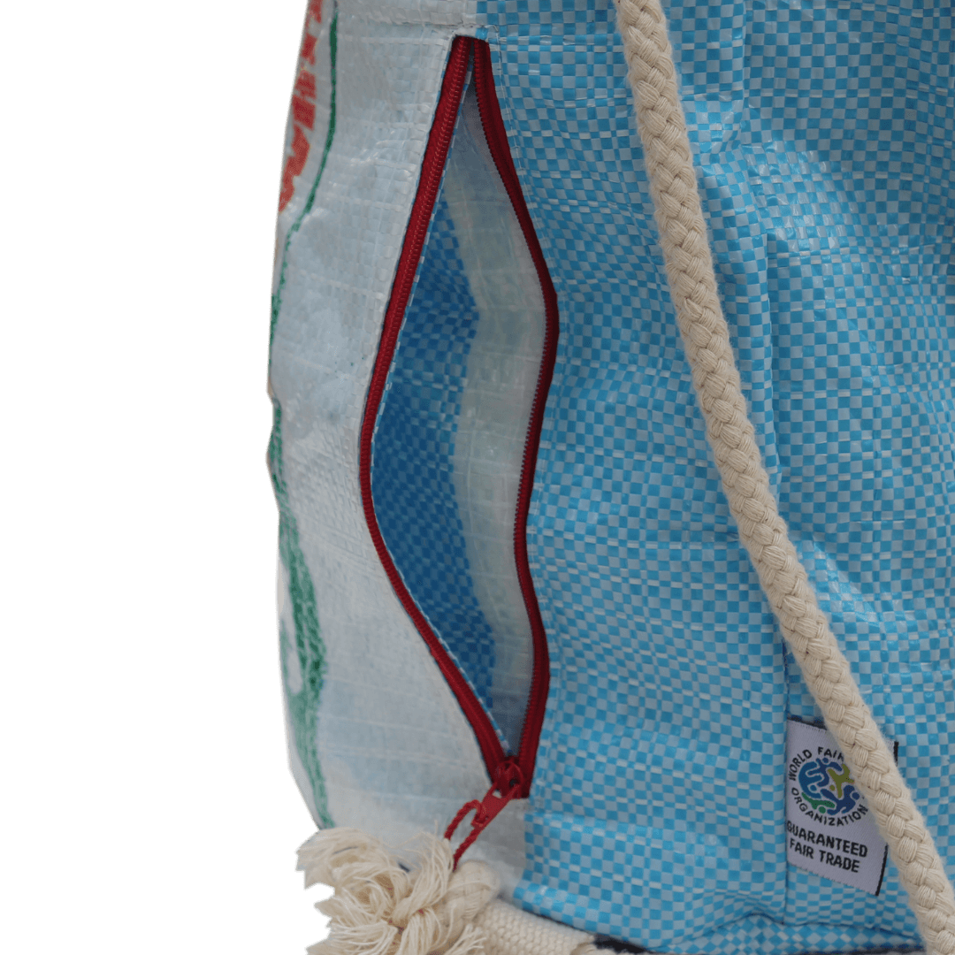 sustainable gifts Rice & Carry Upcycled rice sacks duffle bag