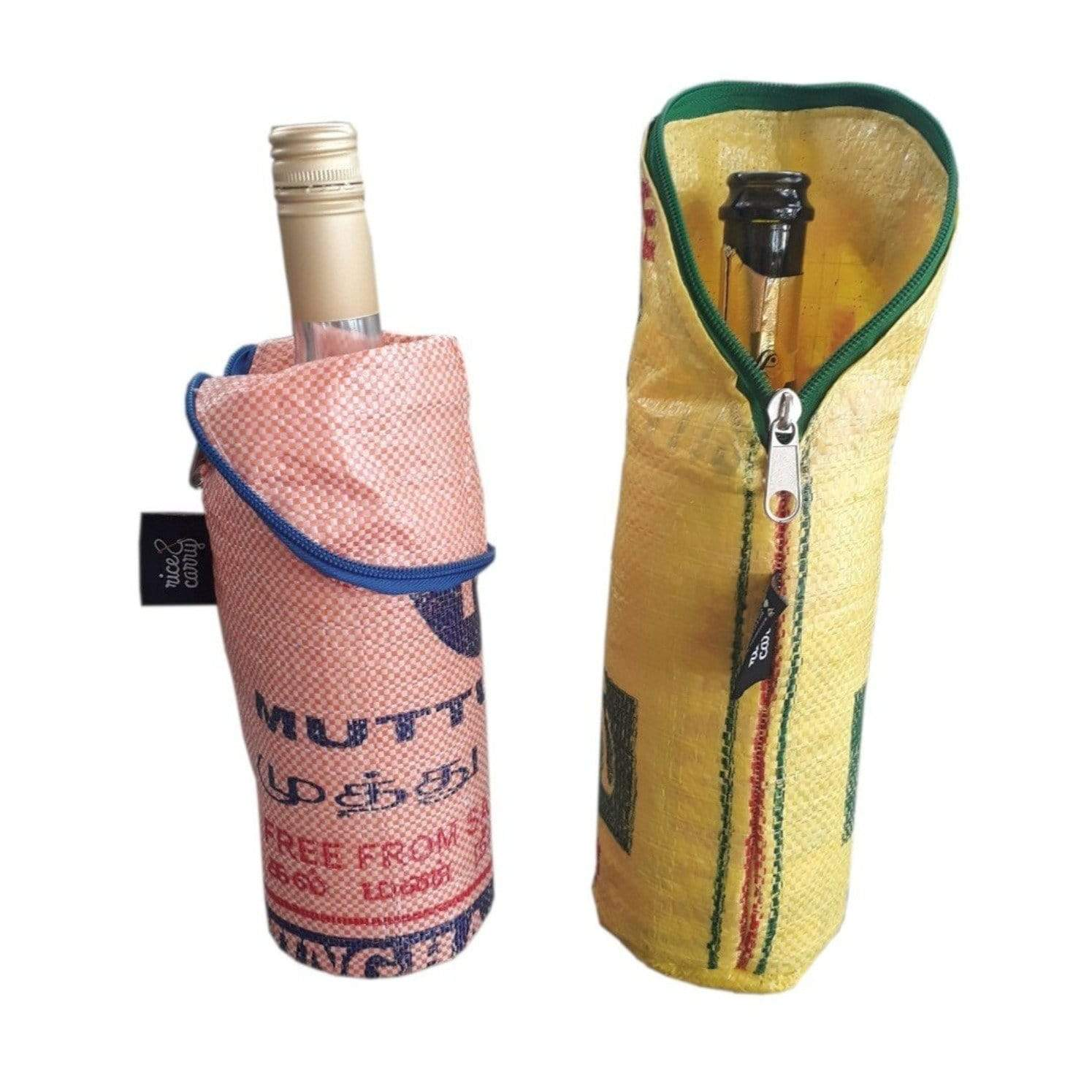 Fair and eco friendly bottle cooler bag Rice & Carry made of up-cycled rice bags