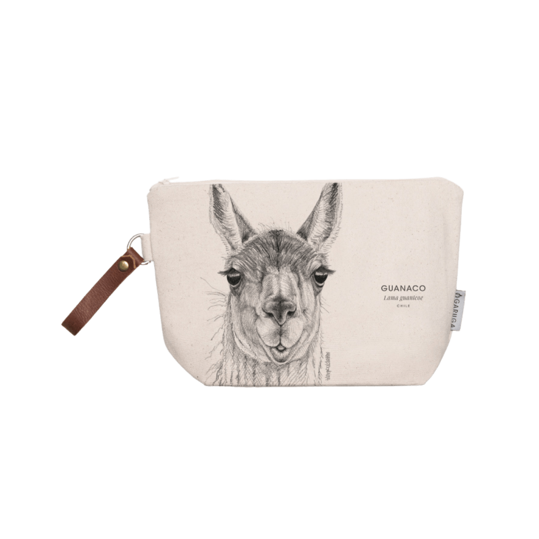 Sustainable gift Garuga toiletry bag for conservation of guanaco in Patagonia