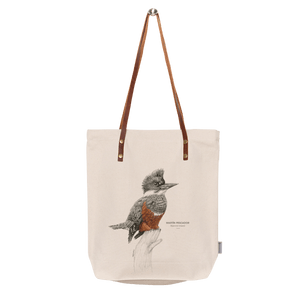 Sustainable gift Garuga totebag for conservation of kingfisher in Patagonia