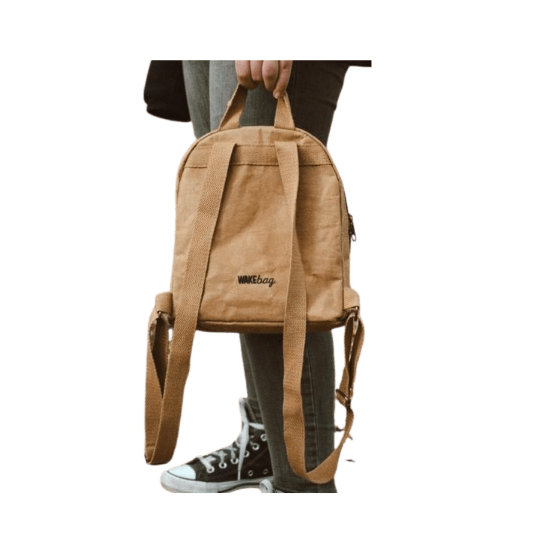 Wakecup brown kids rucksack sustainable and vegan