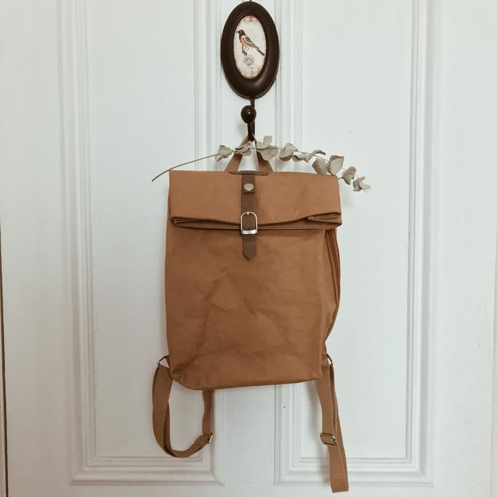Wakecup brown rucksack sustainable and vegan hanging