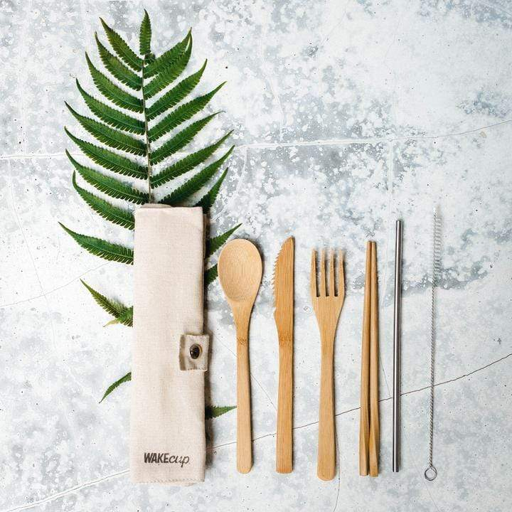 Wakecup zero waste cutlery set in sustainably sourced organic bamboo