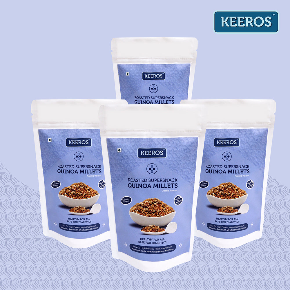 Load image into Gallery viewer, Keeros Quinoa Millets Healthy Super Snack | Pack of 2x100g