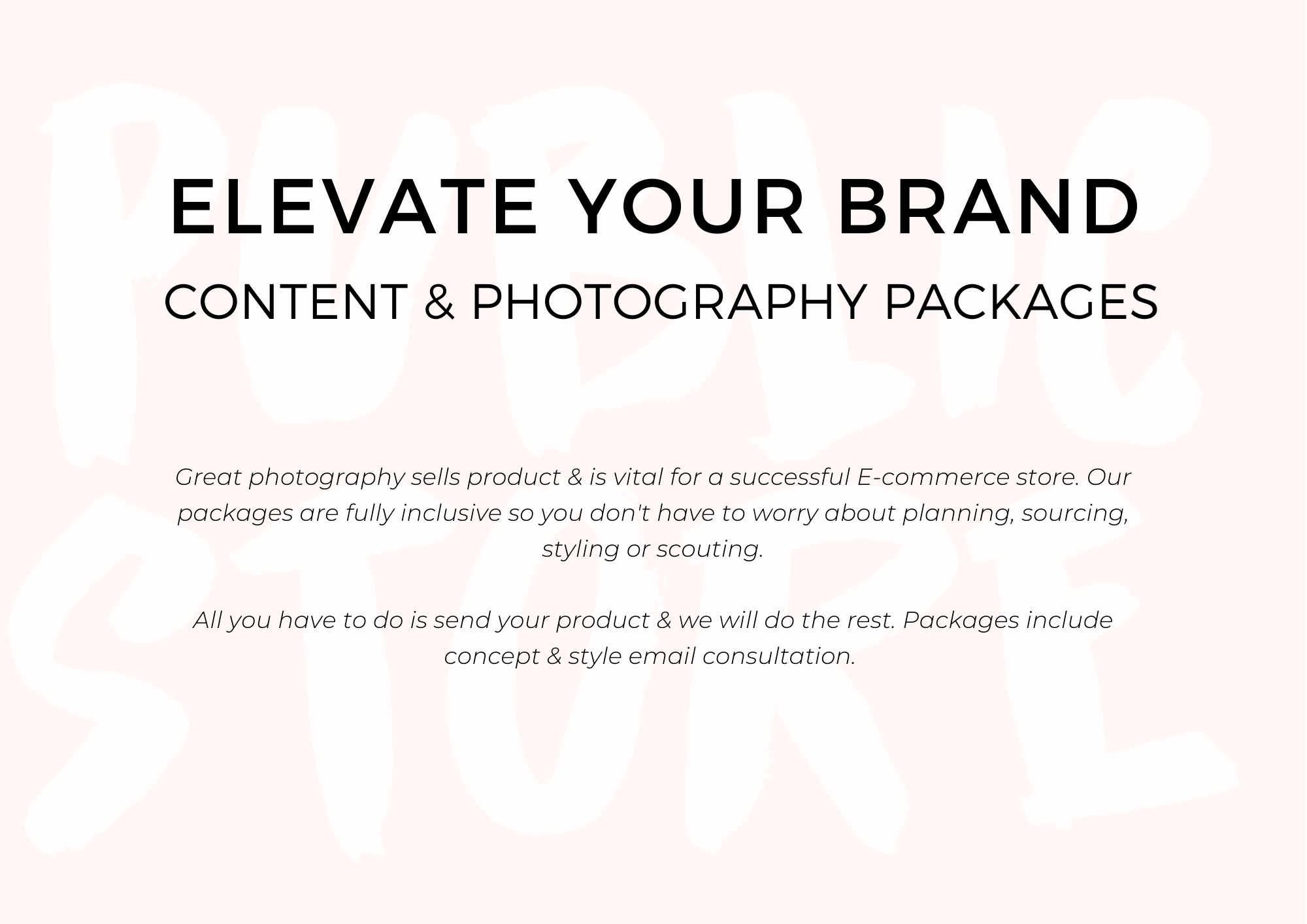 CONTENT & PHOTOGRAPHY PACKAGES Fashion Flatlay Model Photoshoot Social Media