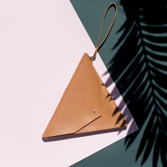 Triangle Clutch Tan - Public Store Australian Independent & Emerging Fashion Art Design