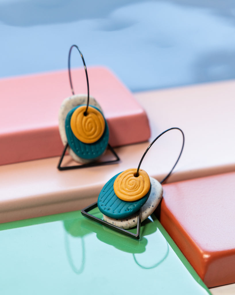 Textured Hoops - Beach + Pine + Mustard