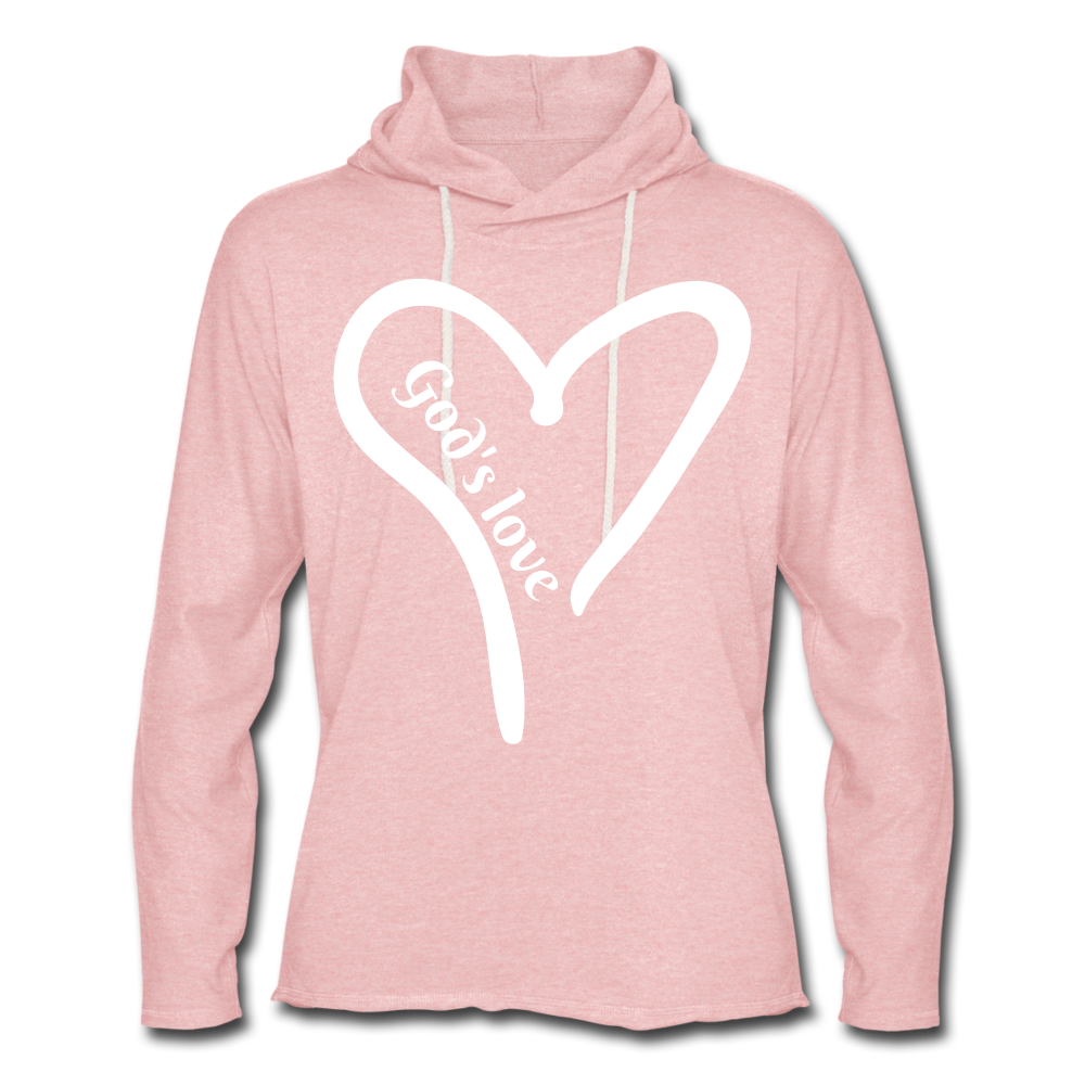 GODS LOVE Unisex Lightweight Terry Hoodie - cream heather pink