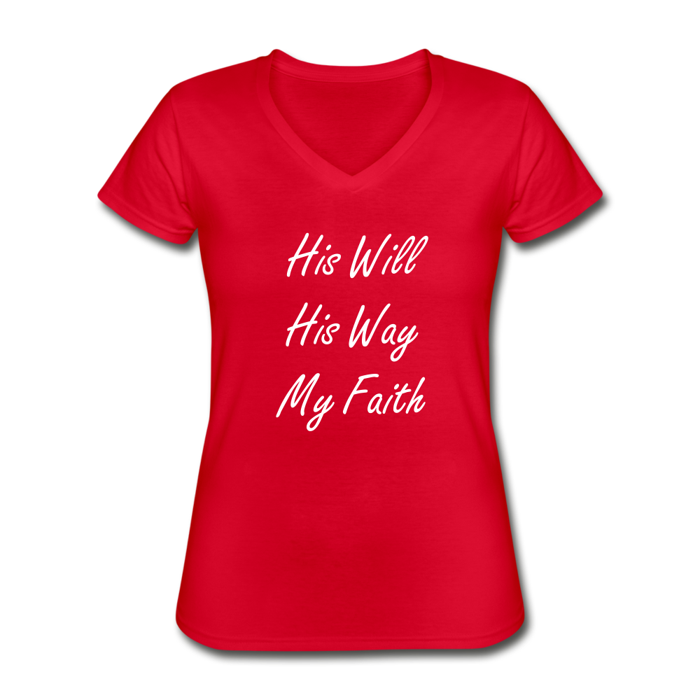 HIS WILL Women's V-Neck T-Shirt - red