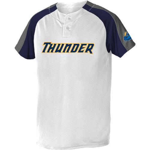 Trenton Thunder Adult White w/navy/grey shoulder panels/left slv logo (Drifit) Jersey