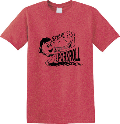 Adult Enjoy Pork Roll Heather Red t-shirt