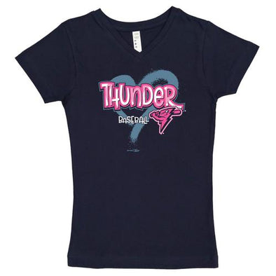 Trenton Thunder Youth Thunder Girls Navy V-neck Longer Length Tee