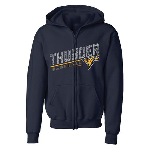 Trenton Thunder Youth Navy Full Zip Navy Sweatshirt - Strike logo
