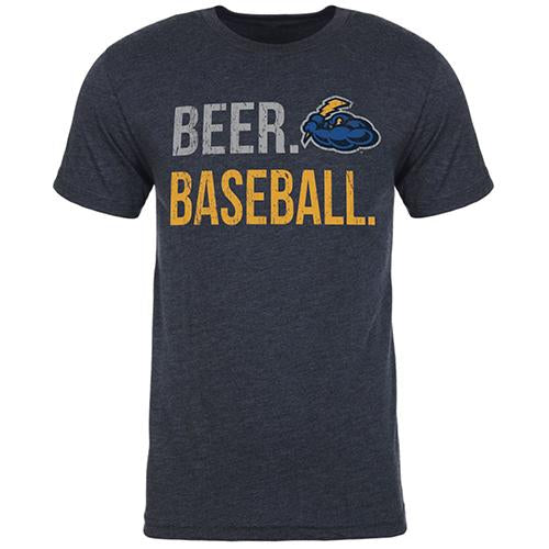 Trenton Thunder Adult Beer and Baseball Heather Navy t-shirt