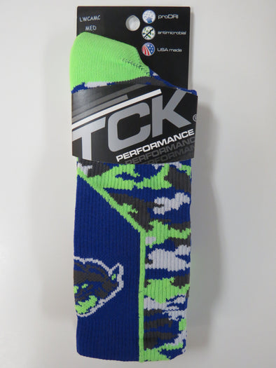 Trenton Thunder TCK Royal and bright green Cloudman logo crew socks