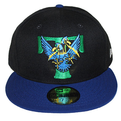 Trenton Thunder NEC 5950 Thunderbird Logo Black Royal Fitted Cap
