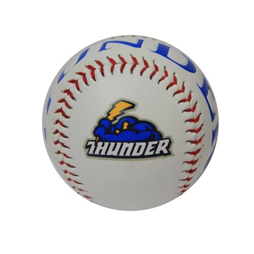 Trenton Thunder Debossed White Logo Baseball -with Thunder across panels