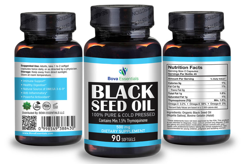 Black Seed Oil SoftGel Capsules 500mg - 90 Count