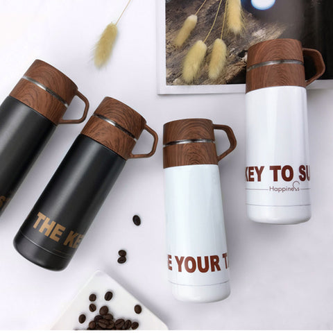 Wooden texture thermos cup - KosmoBlue