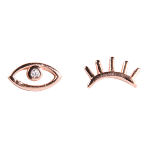 Winking Lash Stud Earrings