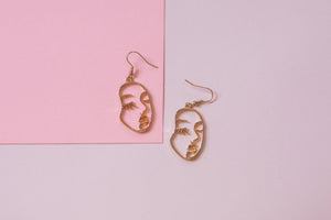 Golden Face Abstract Earrings