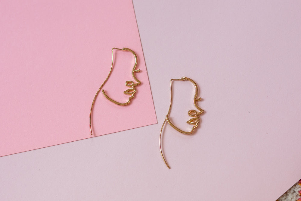 Side Profile Face Earrings
