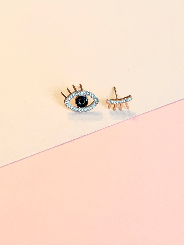 Rose Gold Winking Bling Studs