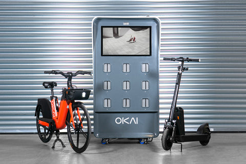 Electric Bike 100, Electric Scooter 400B, Charging Cabinet