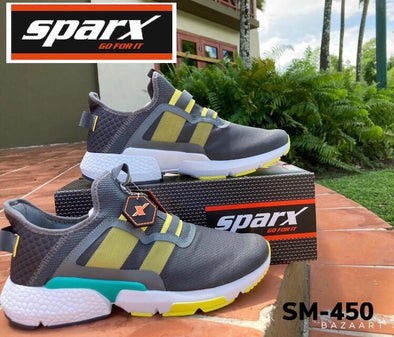 Sparx Grey and Yellow Runing Shoes