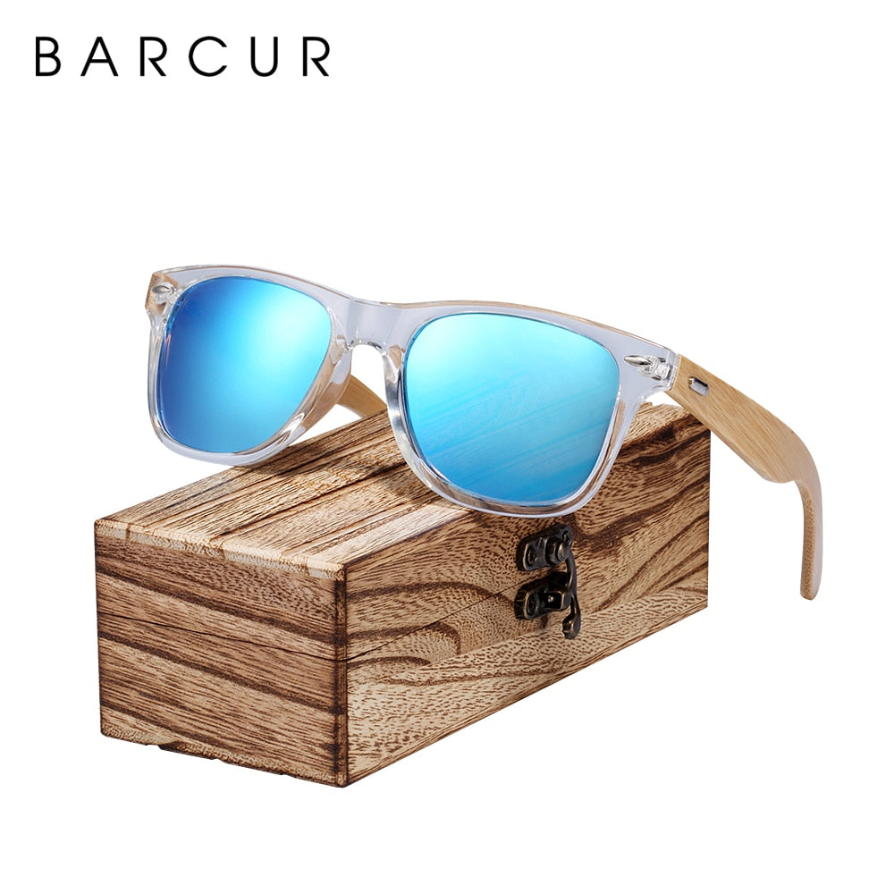BARCUR Classic Bamboo Wood Polarized Sunglasses Transparent Plastic Frame With Box Free - Amanda's Sunglasses and More