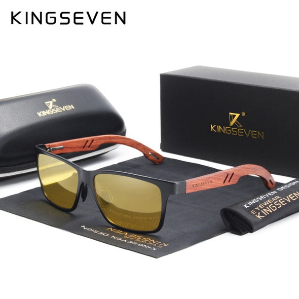 KINGSEVEN Polarized Wooden Frame Sunglasses - Amanda's Sunglasses and More