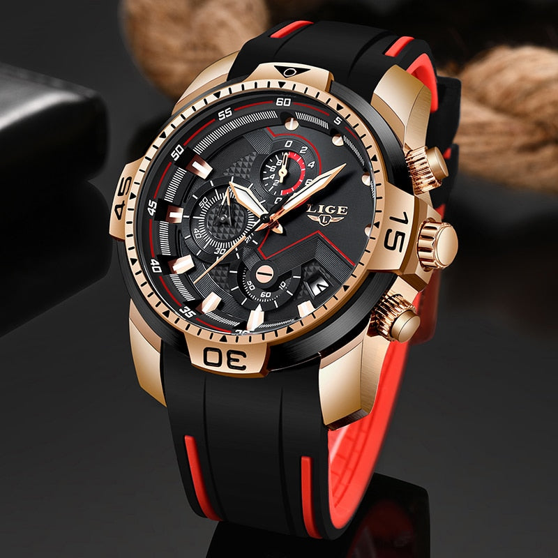 LIGE Men's Sport Watch Chronograph Silicone Strap Quartz Waterproof - Amanda's Sunglasses and More