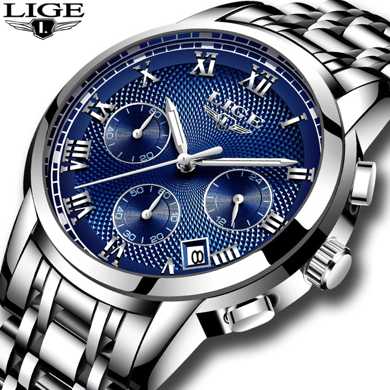 LIGE Men's Luxury Chronograph Business Watch, Full Steel Waterproof - Amanda's Sunglasses and More