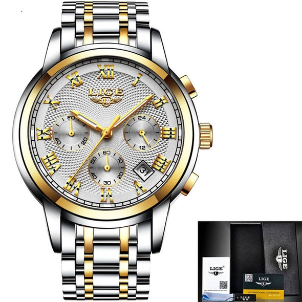 LIGE Men's Luxury Chronograph Business Watch, Stainless Steel Waterproof - Amanda's Sunglasses and More