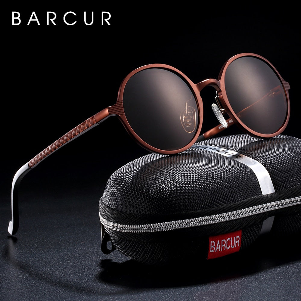 BARCUR Polarized Retro Style Round Sunglasses Unisex - Amanda's Sunglasses and More