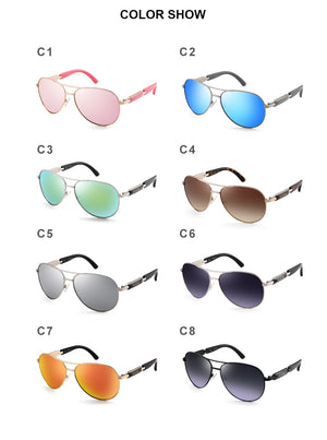FENCHI Pilot Mirror Polarized Women's Sunglasses, UV400 - Amanda's Sunglasses and More