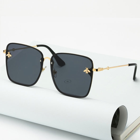women's Oversize Rimless Square Bee Sunglasses, UV400 - Amanda's Sunglasses and More