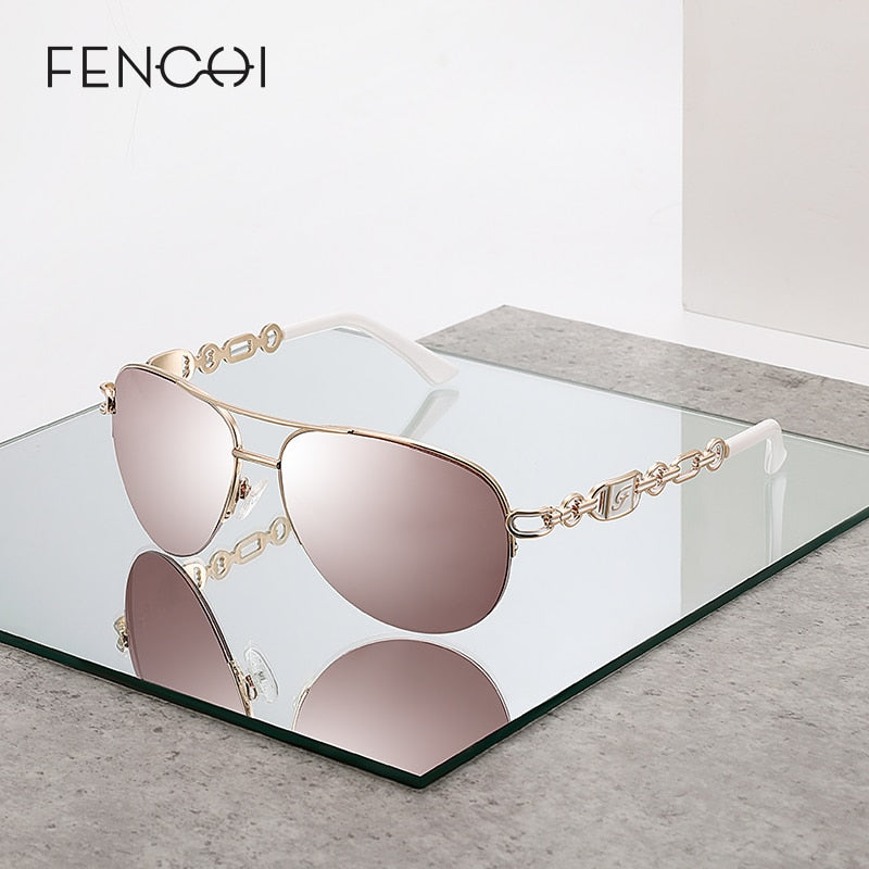 FENCHI Pink Pilot Mirror Lenses Sunglasses for Women - Amanda's Sunglasses and More