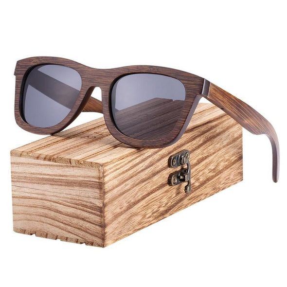 BARCUR Brown, Vintage Bamboo Square Polarized Sunglasses