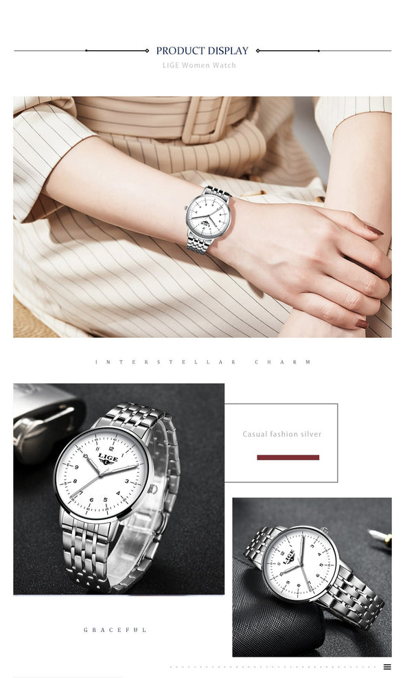 LIGE Ladies Steel Bracelet Waterproof Wrist Watch - Amanda's Sunglasses and More