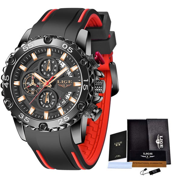 LIGE Silicone Strap Sport Chronograph Big Dial Wristwatch