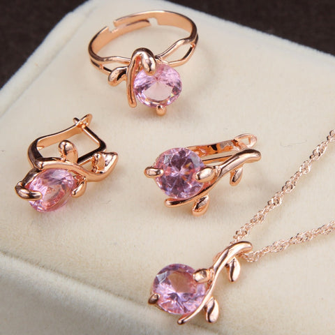 Jewellery sets gold color earrings Ring crystal women fashion set
