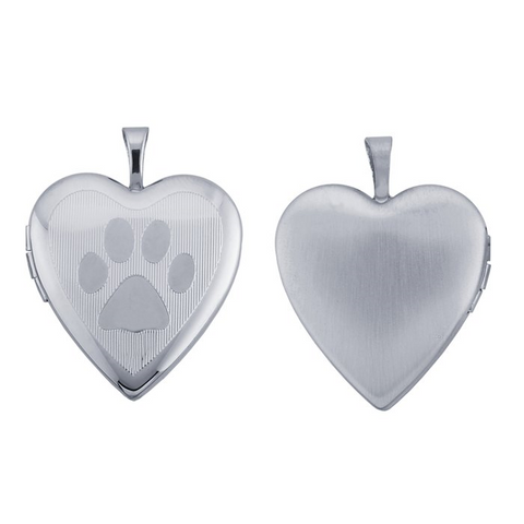 Sterling Silver Paw Print Heart Locket