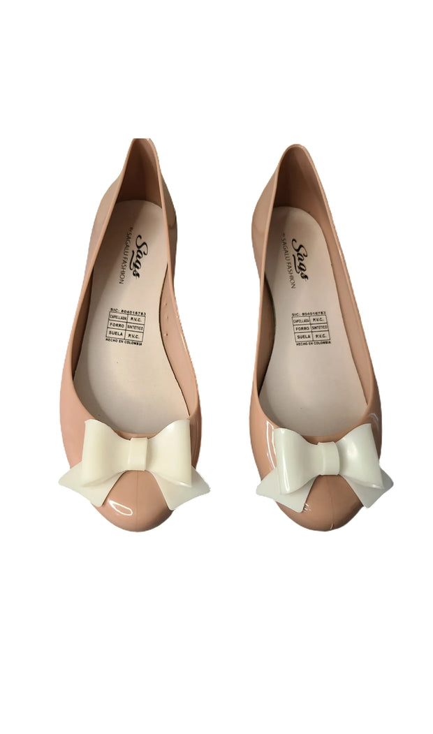 Sags Flats Nude/White Bow