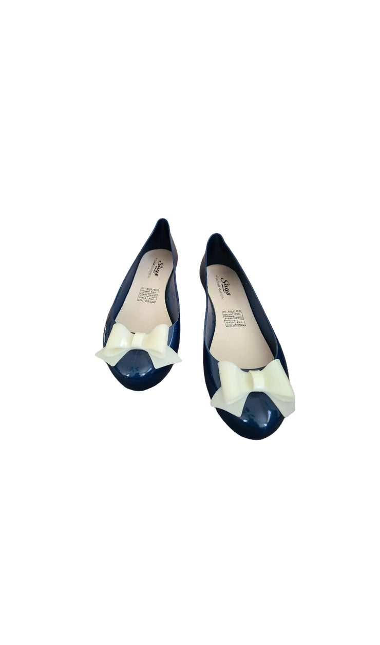 Sags Flats Navy Blue/White Bow