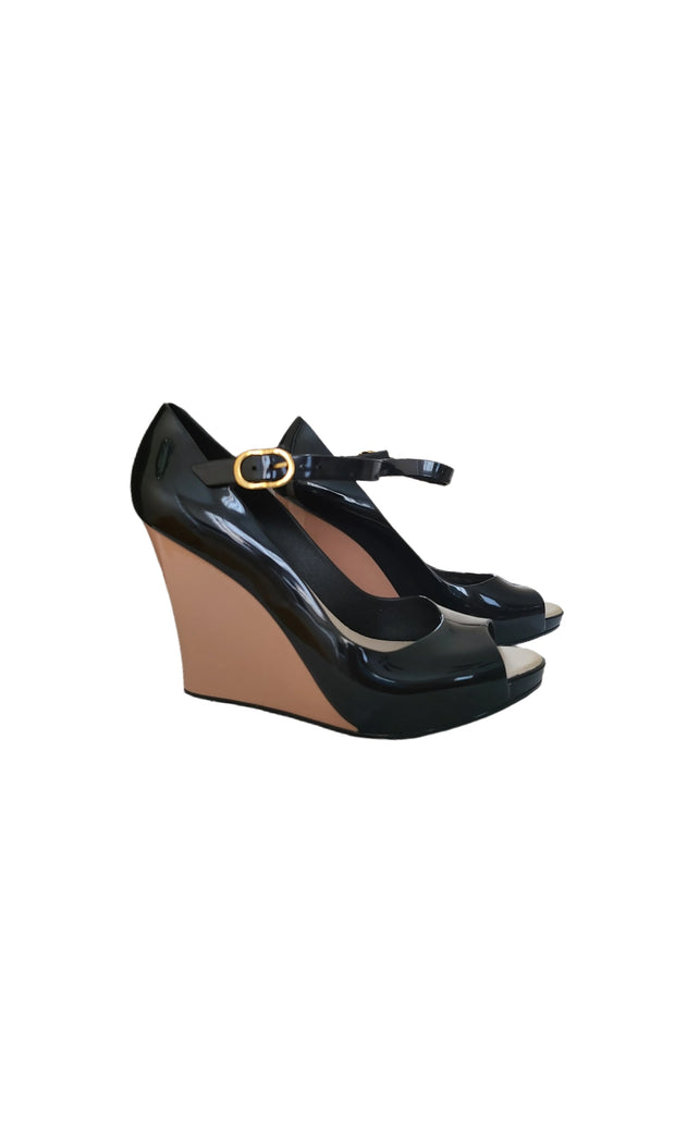 "Sags Wedges 4 "" Black and Nude"