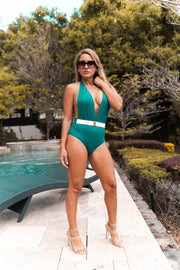 Allure / Emerald / One Piece/ Open Back / Front Belt With Gold Buckle