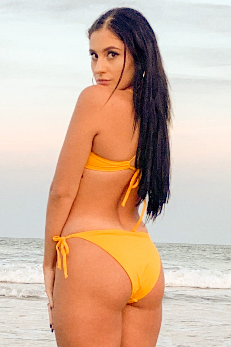 Sunny Yellow  Bikini Tie Adjustable Bottom